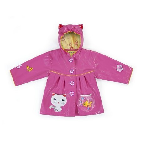 Baby Girls Pink Lucky Cat Pockets Ears Hooded Rain Coat 12-18M thumbnail