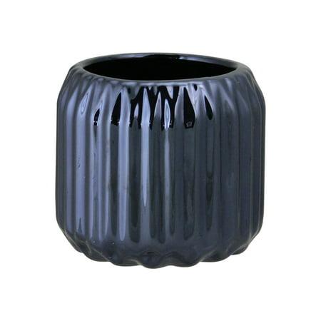 "Northlight 2.75"" Ridged Metallic Ceramic Tea Light Candle Holder - Navy Blue"