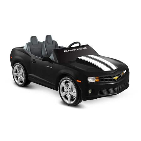 Kid Motorz Chevrolet Camaro 12-Volt Battery-Operated Ride-On, Black with  Racing Stripes