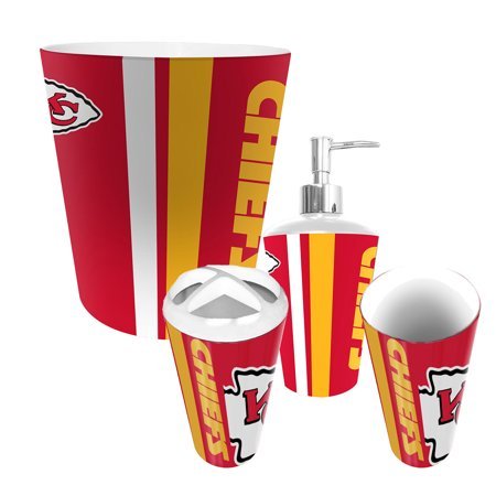 Kansas city chiefs nfl complete bathroom accessories 4pc for Entire bathroom sets