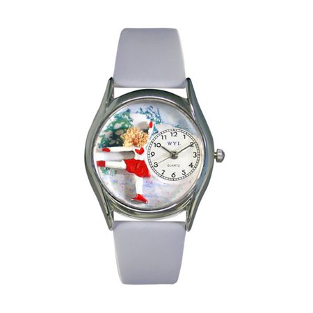 Whimsical Ice Skating Red Leather And Silvertone Watch