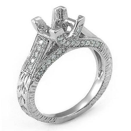 0.40 Carat (Ctw) 14k White Gold Princess & Round Diamond Ladies Semi Mount Bridal Ring (No Center Stone)