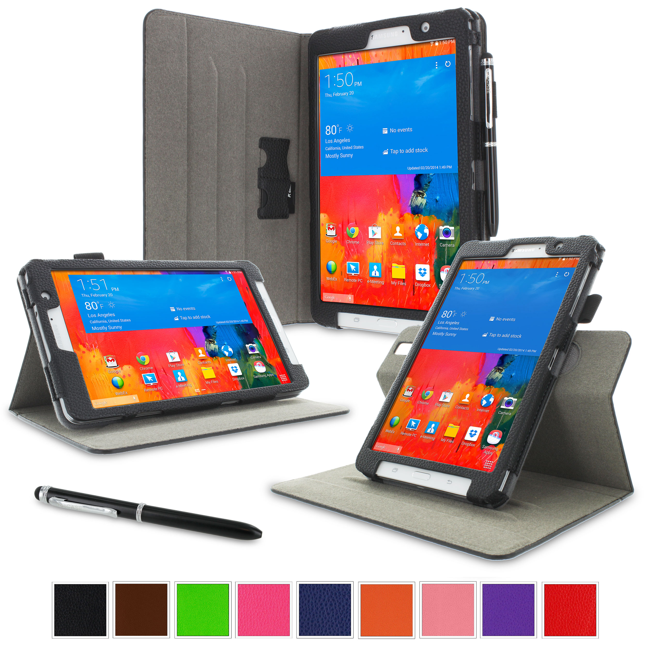 "rooCASE Samsung Galaxy Tab Pro 8.4 Case - Dual View Multi-Angle Stand 8.4-Inch 8.4"" Tablet Case - BLACK (With Auto Wake / Sleep Cover)"