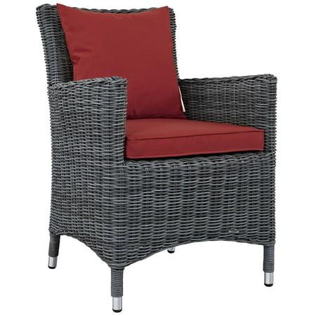 Modern Contemporary Urban Design Outdoor Patio Balcony Garden Furniture Side Dining Chair Armchair, Sunbrella Rattan Wicker, Red ()