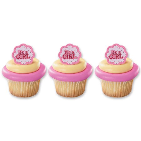 24 Its A Girl Baby Shower Gender Reveal Cupcake Cake Rings Party Favors