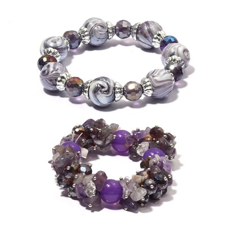Women's Amethyst Glass Multi Gemstone Set of 2 Bracelet Cttw 120