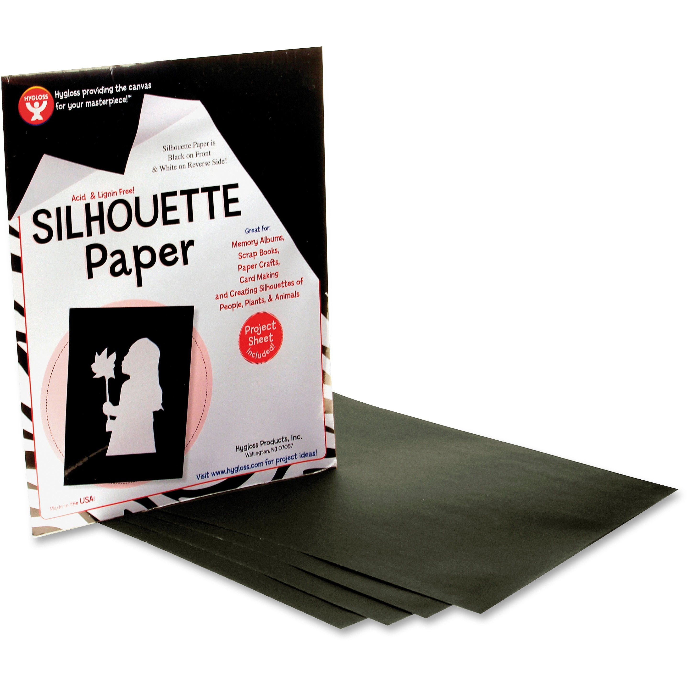Hygloss, HYX14851, Silhouette Paper, 1 / Pack, Black,White