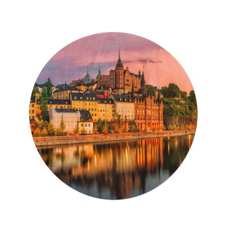 NUDECOR 60 inch Round Beach Towel Blanket Scenic Stockholm City Old Town Sunset Skyline Panoramic Merge Travel Circle Circular Towels Mat Tapestry Beach Throw - image 1 of 2
