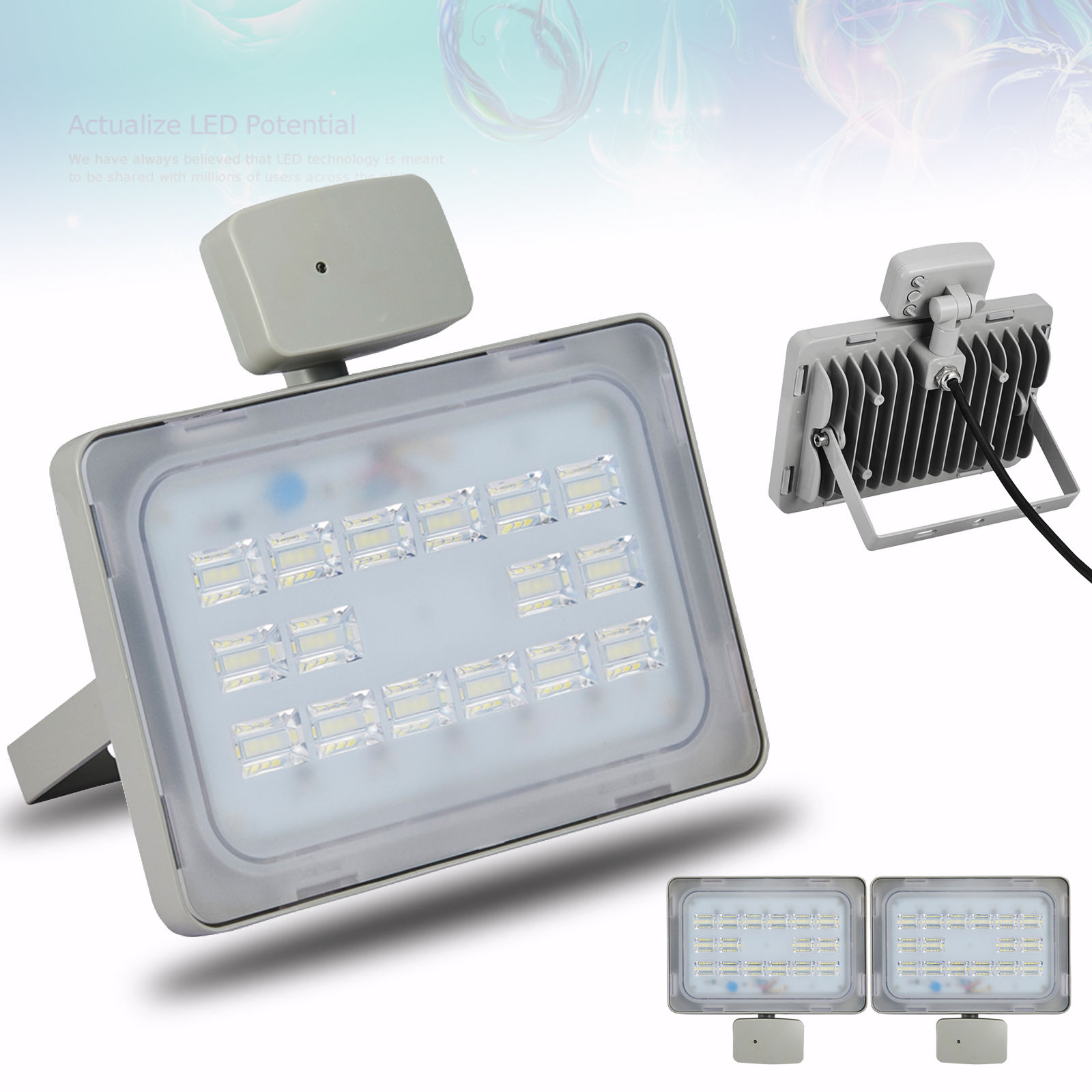 2X Viugreum 50W LED Floodlight Outdoor Garden Lamp Cool White, Microwave Sensor