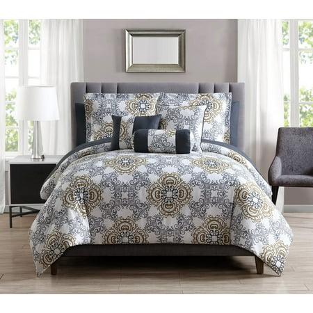 10 Piece Olena Gray Gold White Comforter Set W Sheets