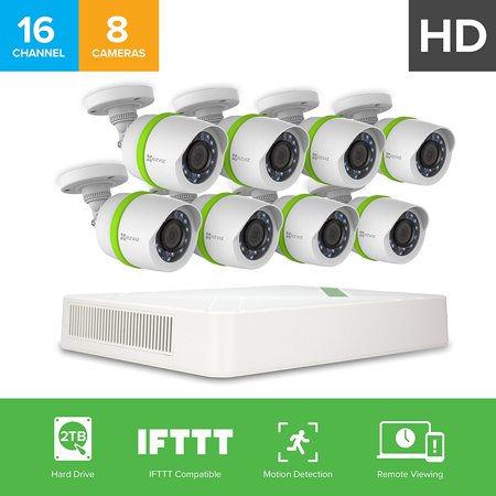 EZVIZ 1080p Outdoor Security Camera System, 8 HD Weatherproof Cameras, 16 Channels with 2TB DVR