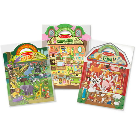 Melissa and Doug Puffy Sticker Activity Books Set, Farm, Safari and Chipmunk