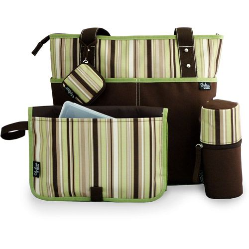 Chelsea & Main - Mommy Essentials 5-Piece Diaper Tote Set, Brown and Green Stripes