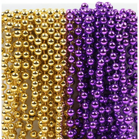 Diy Mardi Gras Beads (Mardi Gras Plastic Bead Necklaces Duo for Graduation Party Favors and Decorations, Purple and Gold,)