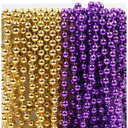 Mardi Gras Plastic Bead Necklaces Duo for Graduation Party Favors and Decorations, Purple and Gold, - Homemade Mardi Gras Decorations