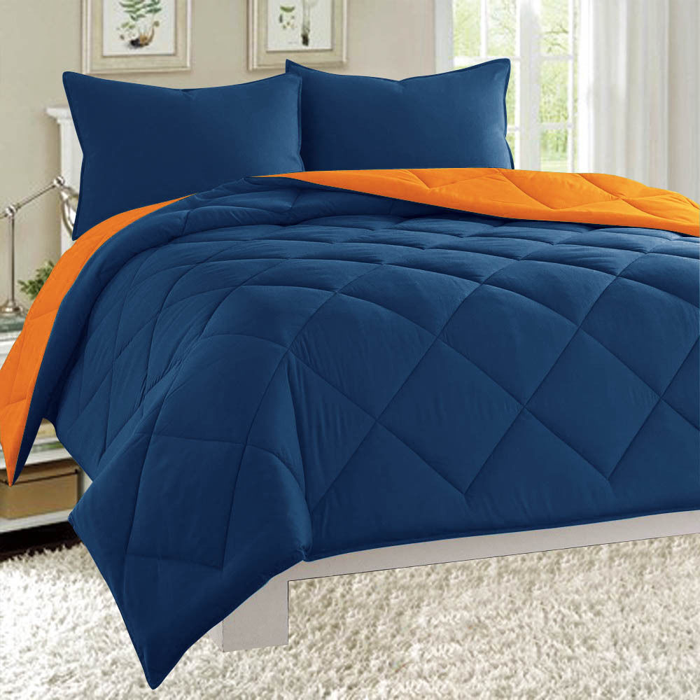Dayton Twin Size 2-Piece Reversible Comforter Set Soft Brushed Microfiber Quilted Bed Cover Navy & Orange