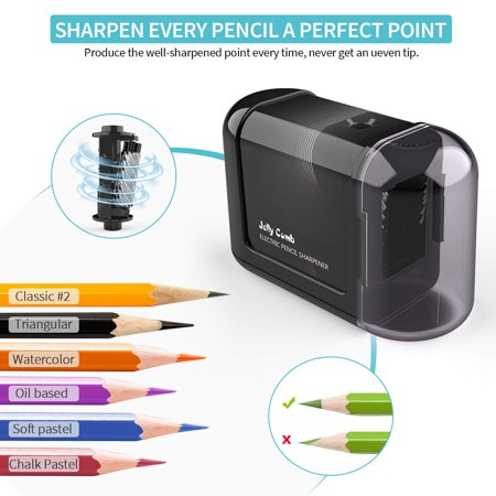 Electric Pencil Sharpener, Battery-Powered, High-Speed Automatic, best for Colored and No. 2 Wood Graphite Pencils, for Home Office School Classroom Adults Kids (Best Electric Sharpener For Colored Pencils)