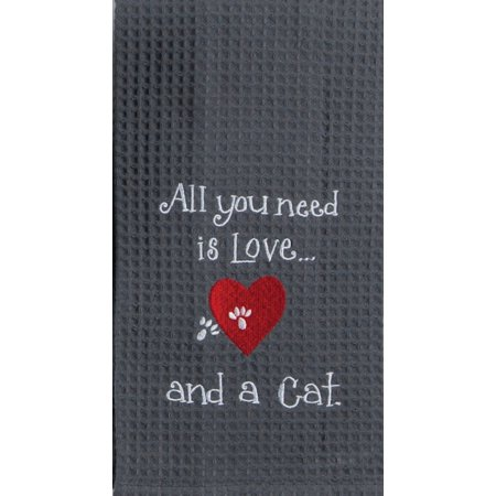 Embroidered Tea Towel (All You Need is Love and A Cat Embroidered Waffle Kitchen Dish Towel)