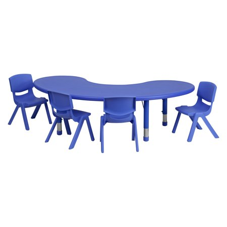 Flash Furniture 35''W x 65''L Adjustable Half-Moon Plastic Activity Table Set in Multiple Colors with 4 School Stack Chairs (Flash Furniture 5 Piece Table Set)