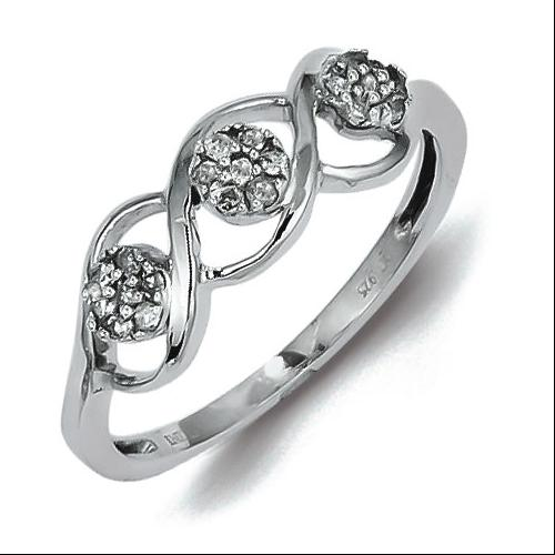 Sterling Silver and White Diamond Ring - Promise Ring - Size 7