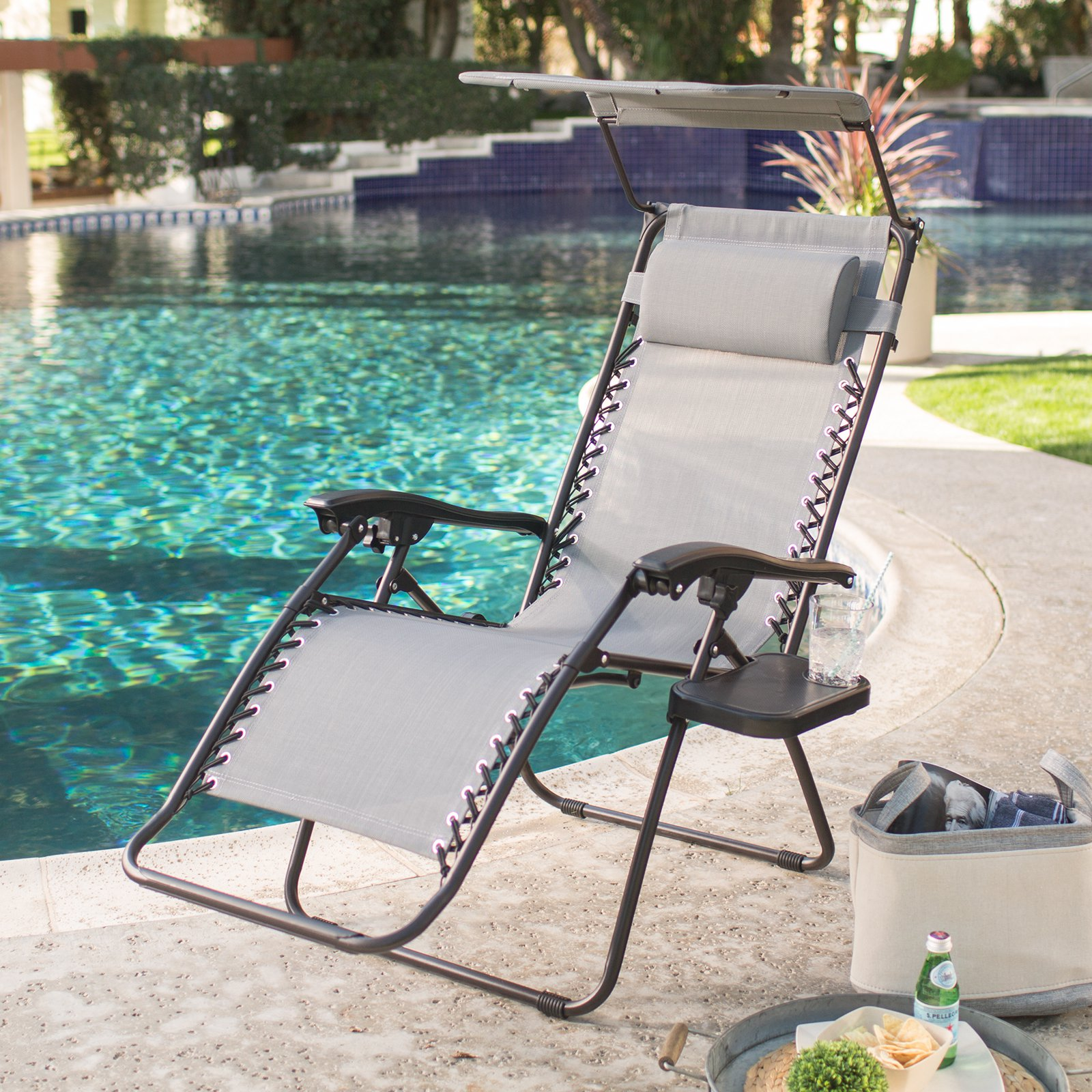 Coral Coast Zero Gravity Chair with Sunshade and Drink Tray
