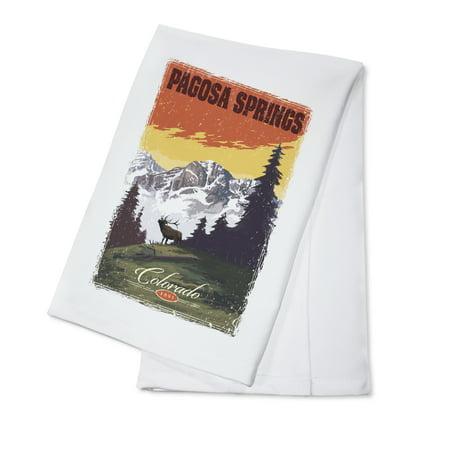 Pagosa Springs, Colorado - Mountain View & Elk - Distressed - Lantern Press Artwork (100% Cotton Kitchen Towel) - Halloween Party Colorado Springs