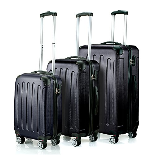 "Timmari ABS 3Pcs Luggage Set Bag Trolley Carry On Suitcase 29"" 26"" 21"" Black"