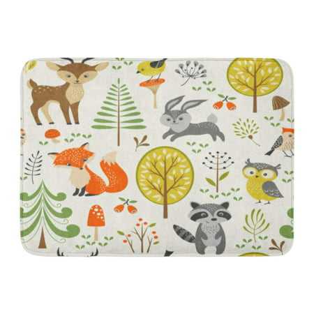 - GODPOK Owl Fox Summer Forest Pattern with Cute Woodland Animals Trees Mushrooms and Berries Rabbit Cartoon Rug Doormat Bath Mat 23.6x15.7 inch