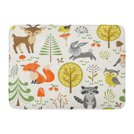 GODPOK Owl Fox Summer Forest Pattern with Cute Woodland Animals Trees Mushrooms and Berries Rabbit Cartoon Rug Doormat Bath Mat 23.6x15.7 - Woodland Animal