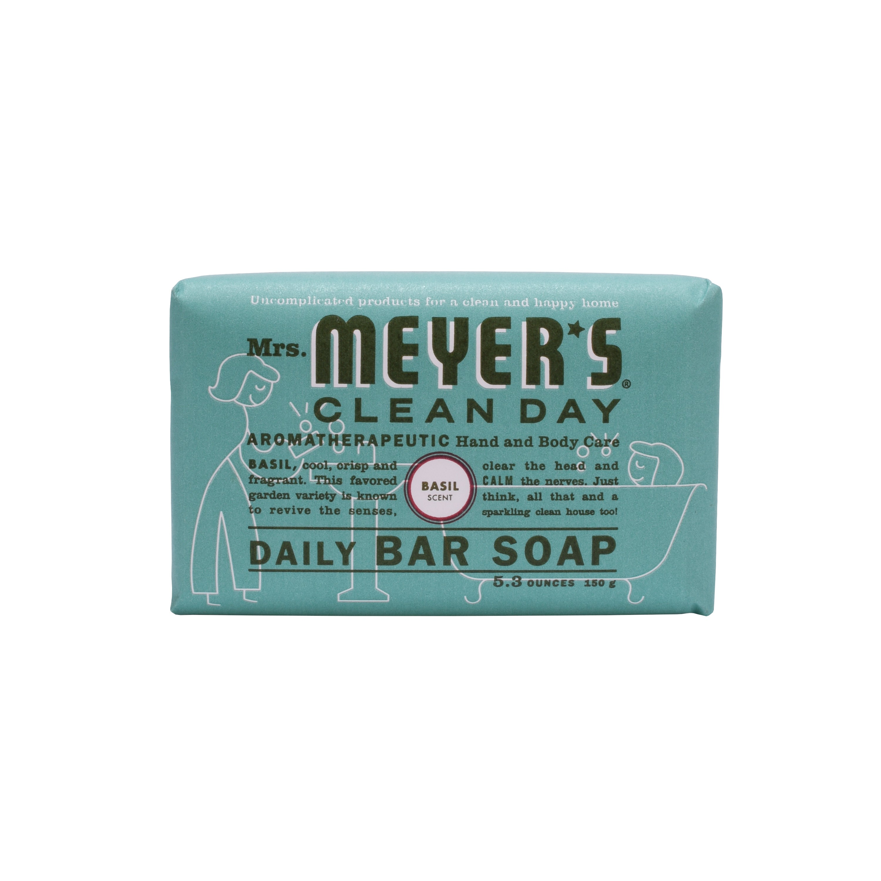 (3 pack) Mrs. Meyer's Clean Day Daily Bar Soap, Basil, 5.3 Ounces