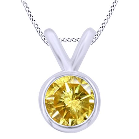 Yellow Natural Diamond Bezel Set Solitaire Pendant Necklace in 14K Solid White Gold (0.5 Ct)
