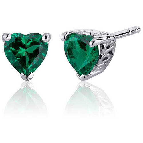 Oravo 1.50 Carat T.G.W. Heart-Shape Simulated Emerald Rhodium over Sterling Silver Stud Earrings