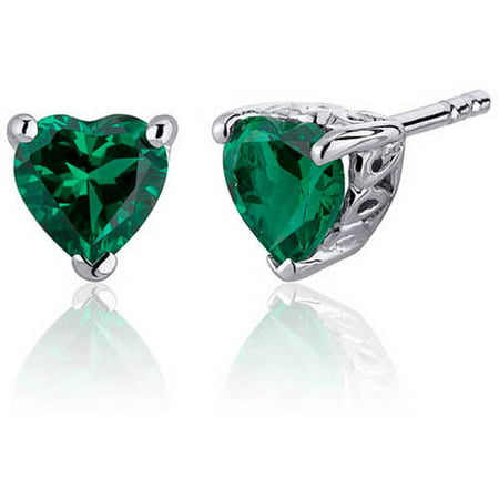 1.50 Carat Heart-Shape Simulated Emerald Rhodium over Sterling Silver Stud Earrings