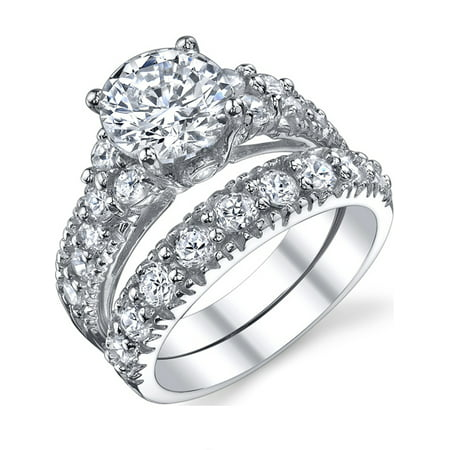 solid sterling silver 925 engagement ring set bridal rings with high quality cubic zirconia - High Quality Cubic Zirconia Wedding Rings