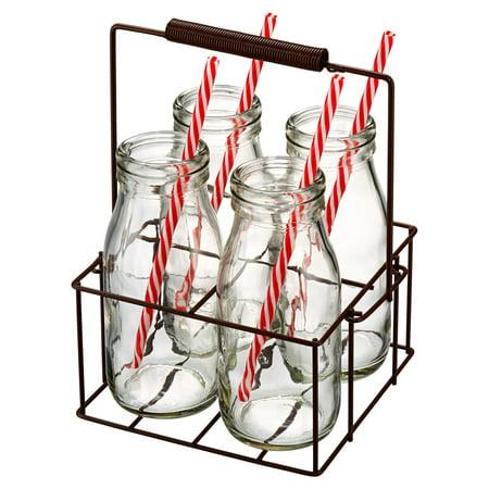 Artland Gingham 9 Piece Milk Bottle Set with Caddy ()