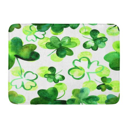 GODPOK Green Clover Pattern Watercolour Shamrocks on White Musical Notes Irish Music St Patrick's Day Rug Doormat Bath Mat 23.6x15.7 - Shamrock Door