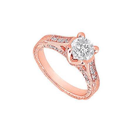 April Birthstone Cubic Zirconia Milgrain Engagement Ring in 14K Rose Gold 1.00 CT TGW - image 1 de 2