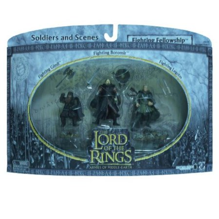 2004 - New Line / Play Along - Lord of the Rings : Armies of Middle Earth - Fighting Fellowship w/ Gimli / Boromir / Legolas - Soldiers & Scenes - Battle Scale Figures - Out of Production - Limited