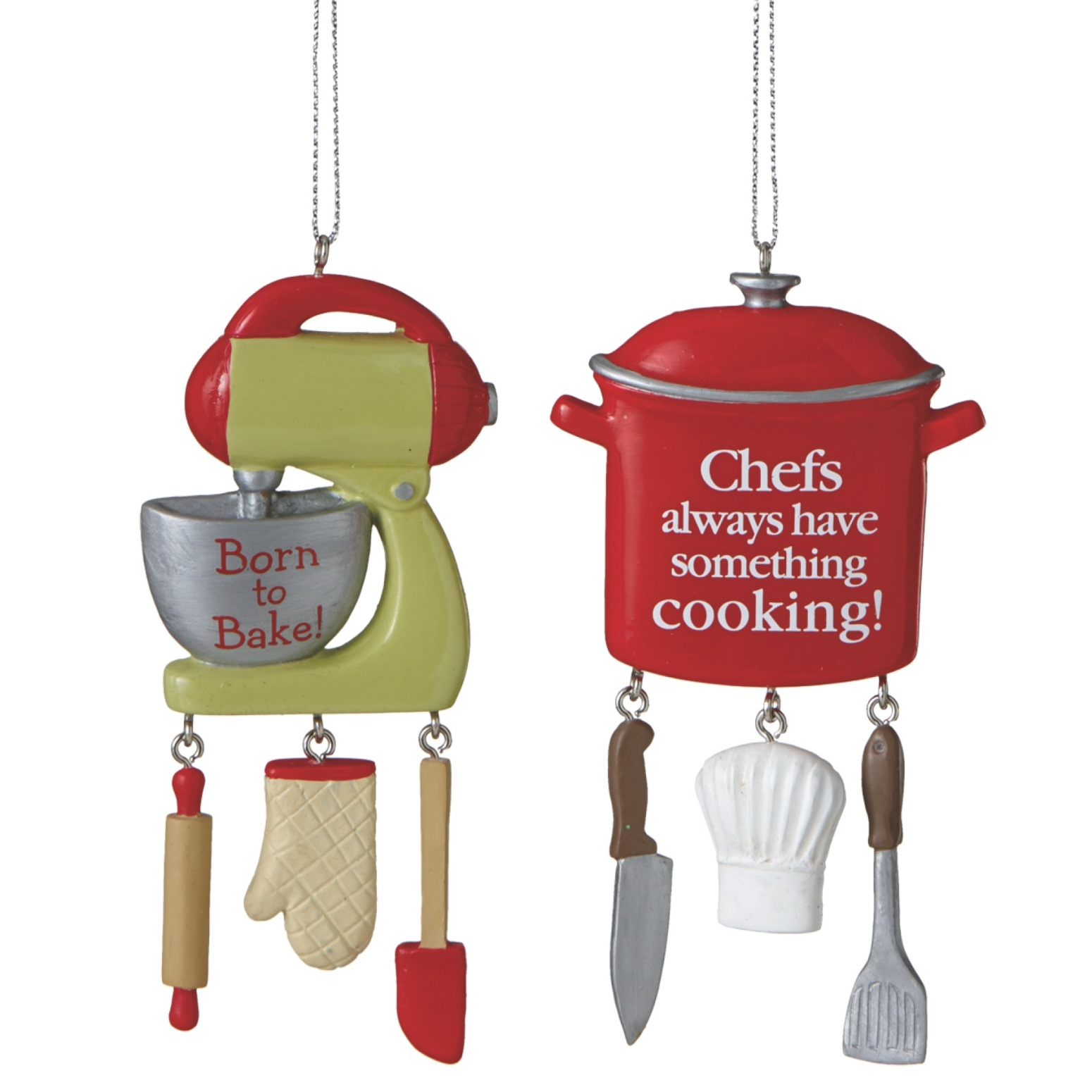 Chef Red Cooking Pot and Baker Green Mixer Christmas Holiday Ornaments Set of 2