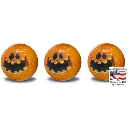 Halloween Golf Ball (Halloween Pumpkin Golf Balls – 3 Ball pack - Frightening Novelty Print Golf Balls)