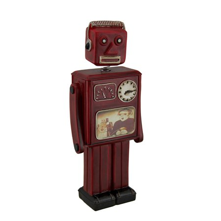 Red Vintage Finish Retro Bobble Head Robot Coin Bank 10