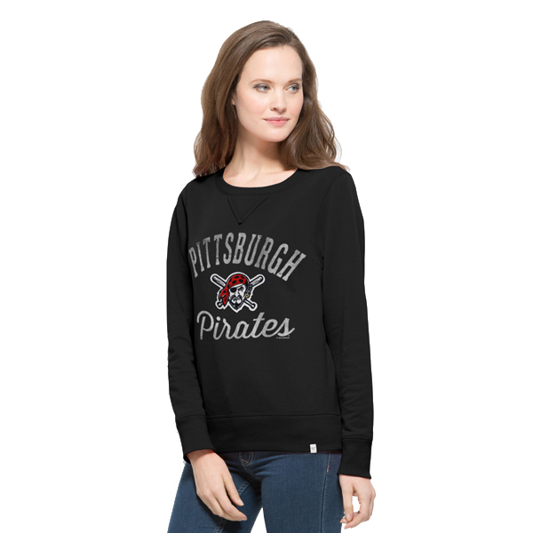Pittsburgh Pirates '47 Women's Cross Check Pullover Crew Sweatshirt - Black