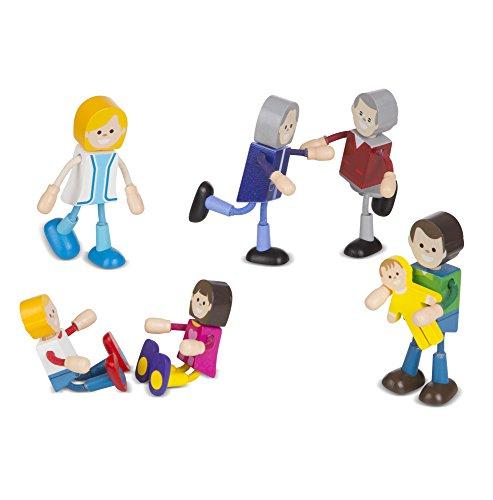 Melissa & Doug Wooden Flexible Figures 7-Piece Caucasian Doll Family for Dollhouses