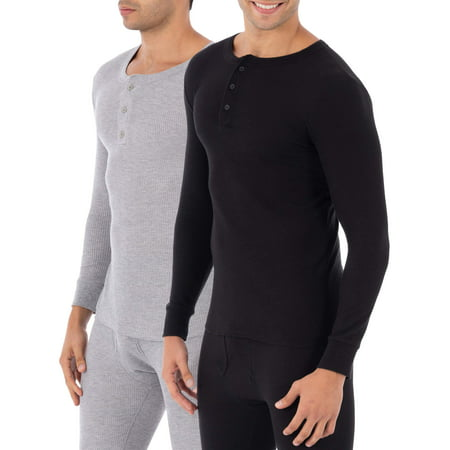 Fruit of the Loom Super Value 2 Pack Classic Henley Tops Thermal Underwear for (Long Sleeve Thermal Long Underwear)