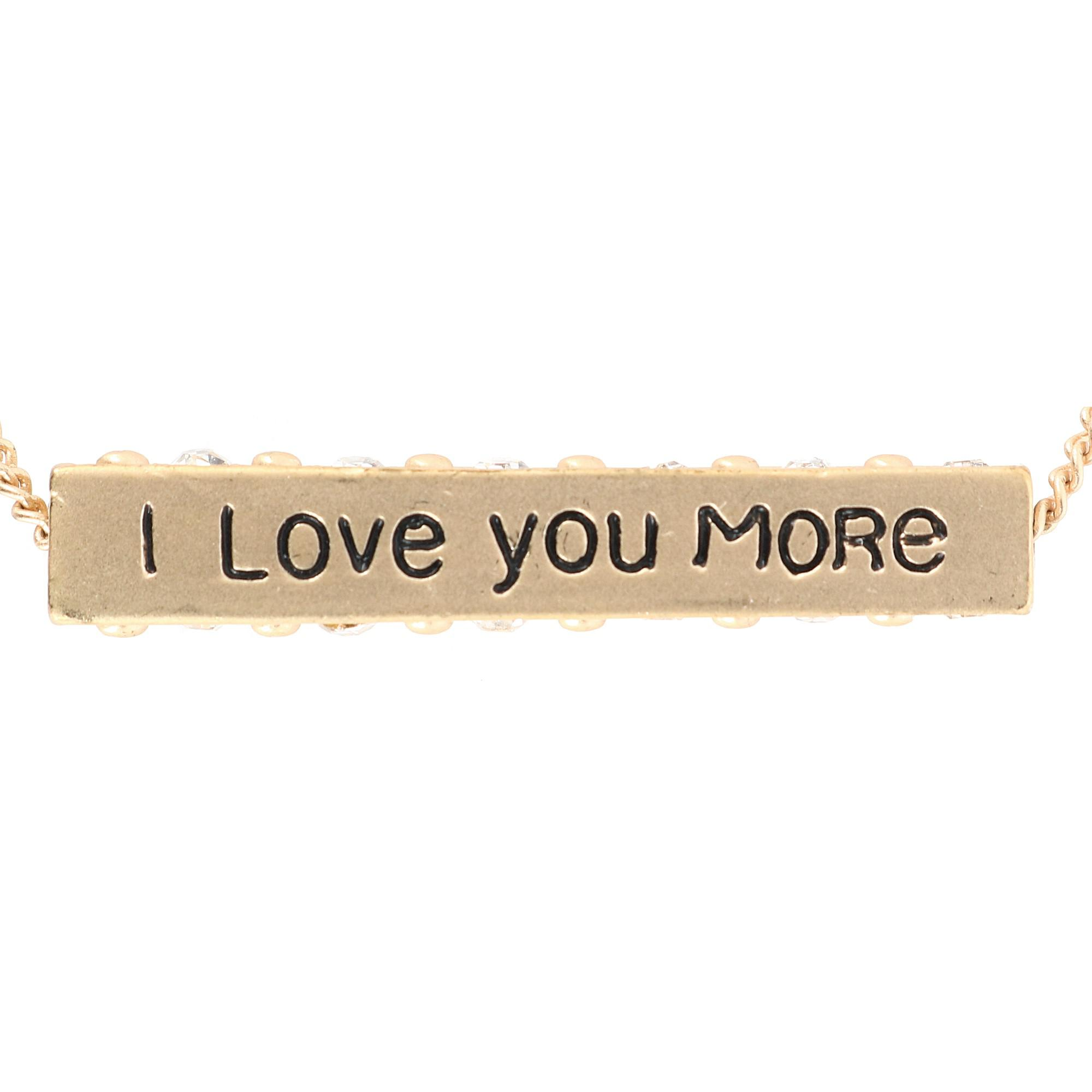 Accessorize Me I Love You More Bar Pendant Necklace with Rhinestones - image 3 of 5