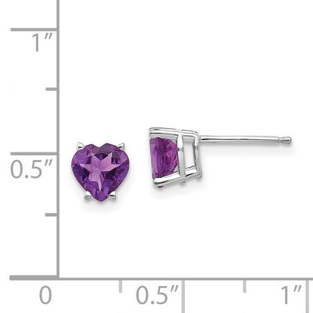 14k White Gold 6mm Heart Purple Amethyst Post Stud Earrings Love Fine Jewelry Gifts For Women For Her - image 1 de 7