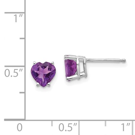 14k White Gold 6mm Heart Purple Amethyst Post Stud Earrings Birthstone February Love Gemstone Fine Jewelry For Women Gifts For Her - image 2 de 7