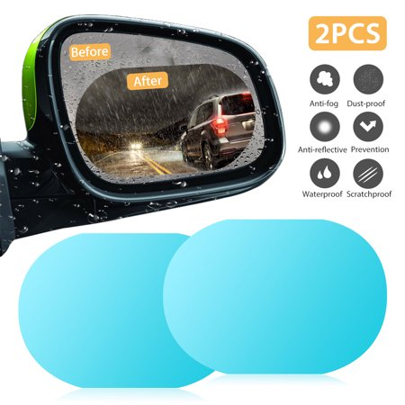 2Pack Oval Car Auto Anti Fog Rainproof Rearview Mirror Protective Film Accessory