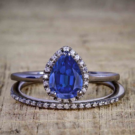 Unique 2 Carat Pear cut Real Sapphire and Cubic Halo Wedding Ring Set for Her in Silver with Black Gold Plating