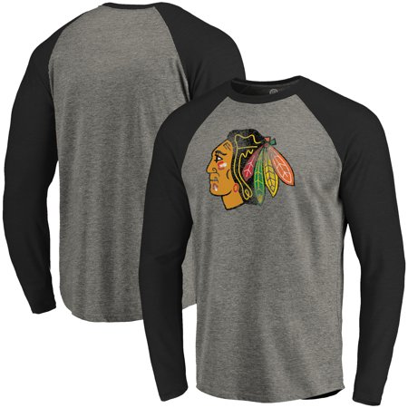 - Chicago Blackhawks Distressed Primary Logo Tri-Blend Raglan T-Shirt - Black